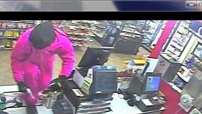 Cameron convenience store robber in hot pink