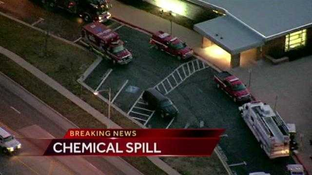 Crews clean up chemical spill at SM high school