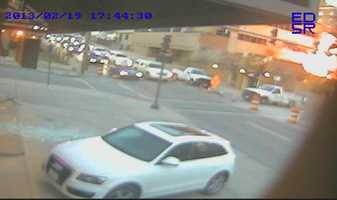 Images of the massive explosion at JJ's near the Country Club Plaza in Kansas City. Images were captured by a camera at Shelton Travel Service Inc.