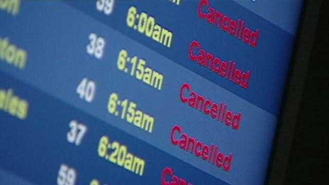 KCI Airport cancellations sign