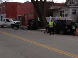 2 people were critically injured in a crash at 920 Winchester Avenue in Kansas City, Mo., on Friday afternoon. These are images from the scene.