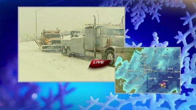 Stuck snow plow in Raytown