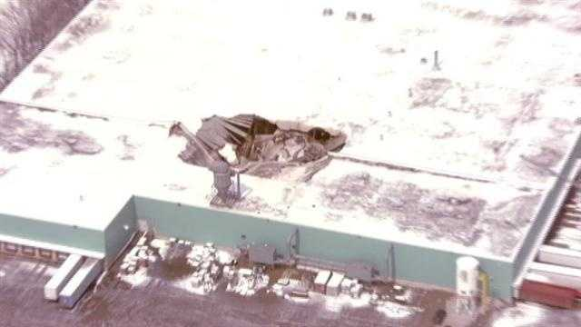 Partial roof collapse at Aspen Products