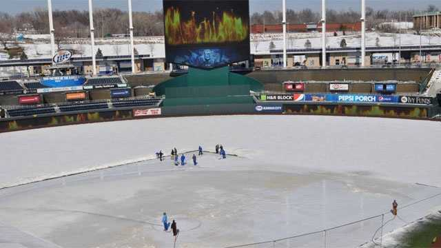 Kauffman snow and videoboard