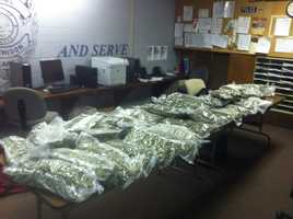 Police seized an airplane full of marijuana and arrested five people at a northeast Kansas airport.