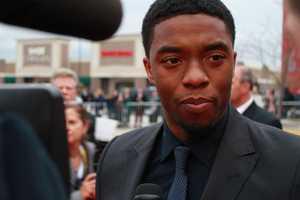 "Chadwick Boseman, who plays Jackie Robinson in ""42."" Boseman said he was not a baseball player growing up."