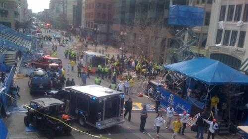 Explosion scene at Boston Marathon