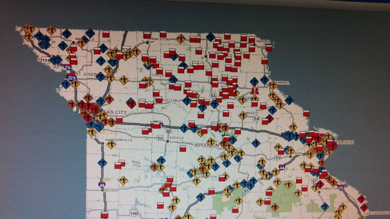 MoDOT map of road closures