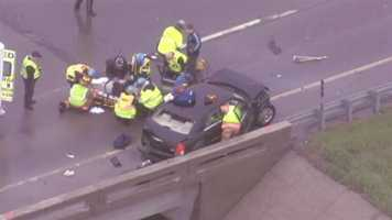 Images from a two vehicle accident on K-7 at K-10 from Friday afternoon. At least four people were injured, rescue crews said.