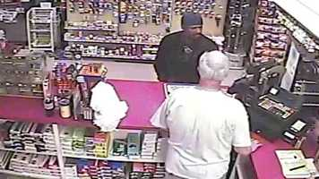 Police said the man walked into the JB One Stop just west of Interstate 35 and 95th Street about 4:15 a.m. and asked the clerk for cigarettes.