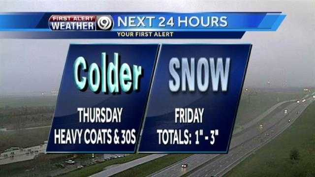 Thurs., Friday weather graphic