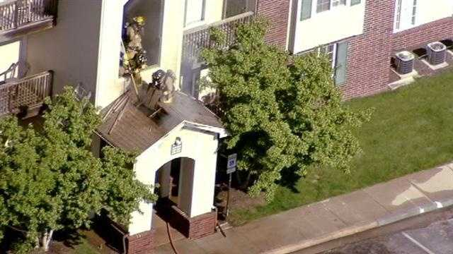 Fire in entryway at Shawnee Station Apartments
