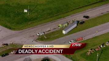 Images from the scene of a deadly accident on 7 Highway just south of Harrisonville, Mo. At least one person was killed.