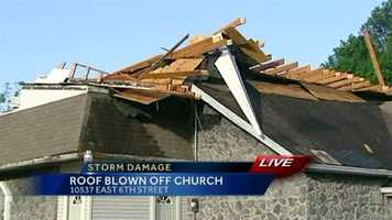 The roof of the Full Gospel Assembly Church in Independence, Mo., sustained heavy storm damage Sunday night.Upload your own pictures to u Local