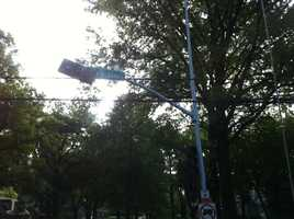 A street light is tangled in some power lines at 71st and State Line.Upload your pictures to our u Local page