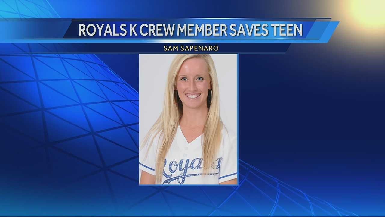 A Kansas City Royals K-Crew member jumped to the rescue at Thursday night's game.
