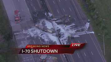 A tanker truck exploded on I-70 near I-435 on Friday morning.