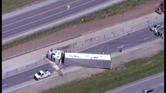 Overturned tractor-trailer I-35, Hwy. 291