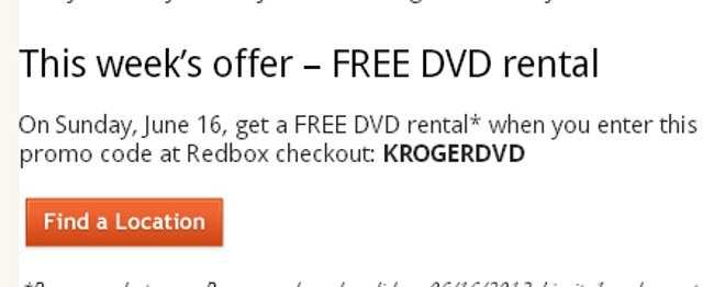 You can rent a free Red Box movie from Kroger's for Father's Day. The code isKROGERDVD (at participating Kroger's only)