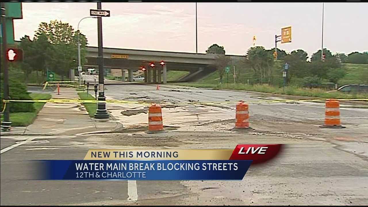 Water main break at 12th and Charlotte