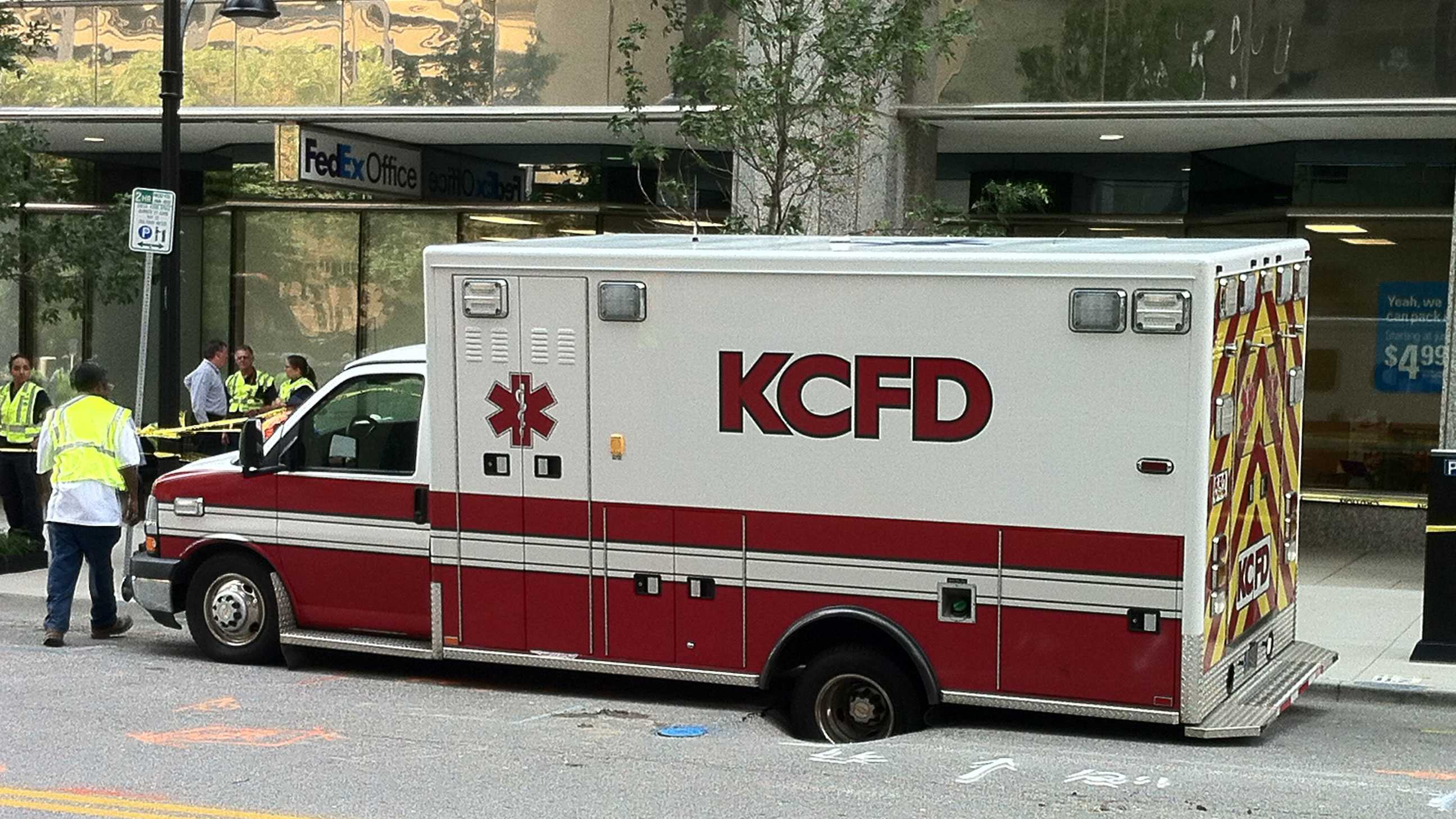 Ambulance in sinkhole in downtown KC