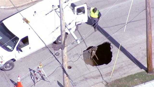 Sinkhole at 9th and Bellefontaine