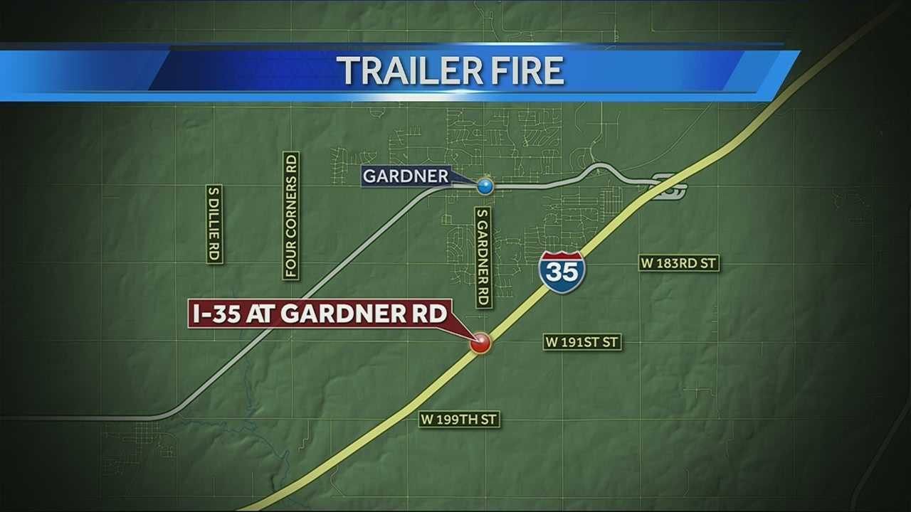 Image Trailer fire in Gardner - map