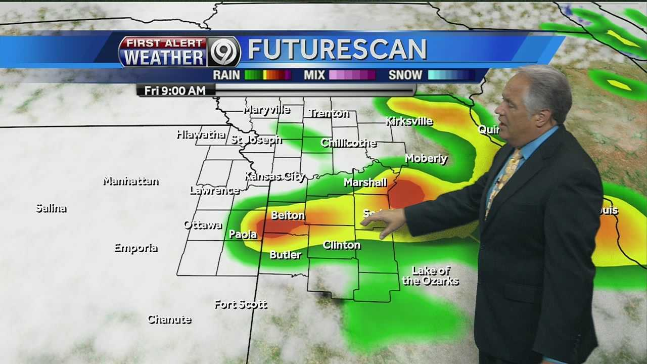 KMBC's Joel Nichols tells us how long the rain is expected to stick around, and whether we could see some storms later today.