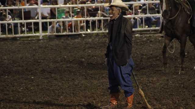 Rodeo clown mocks Obama