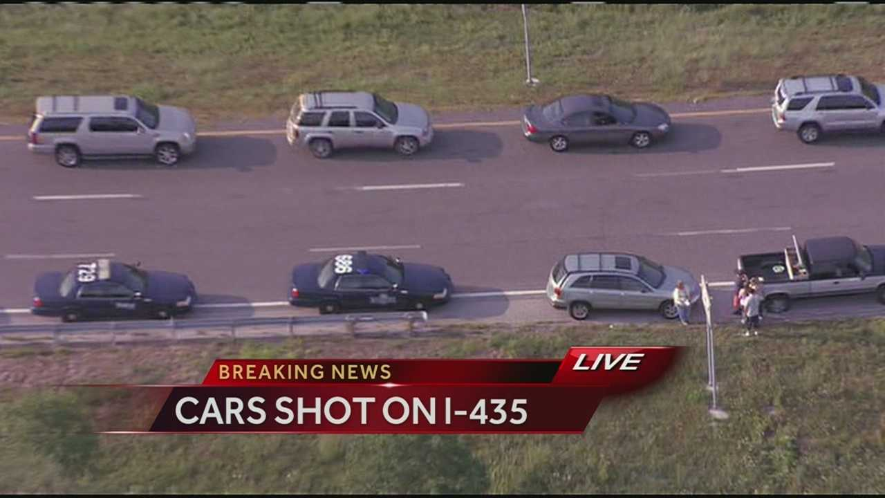 Vehicles damaged by gunfire, I-435, Wornall