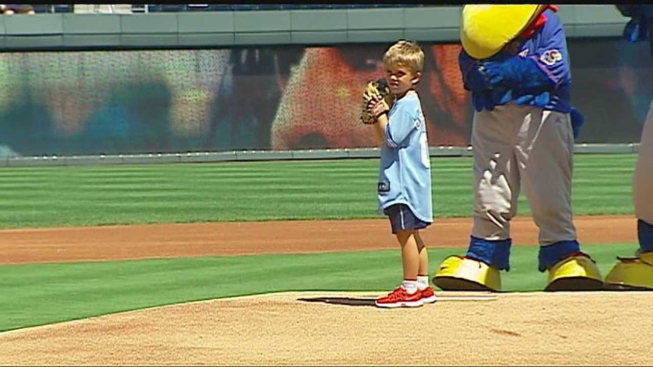 Tyler Bresette throws out first pitch
