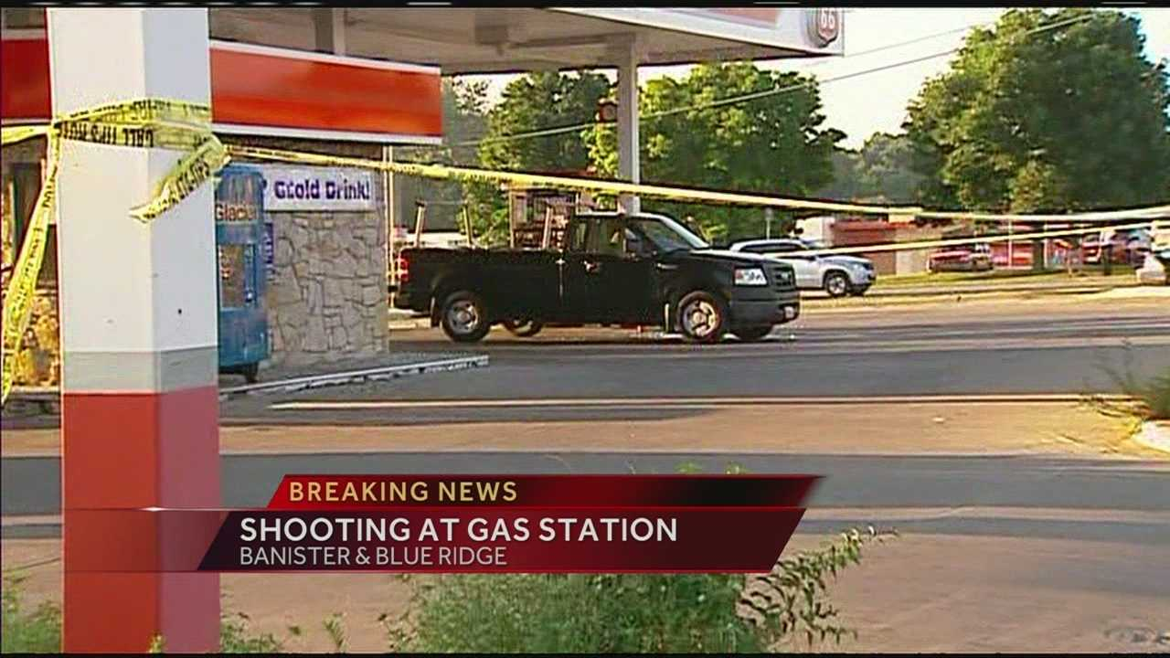 A man has suffered minor injuries after being shot in the arm at a Kansas City gas station in a case of apparent road rage, police said.