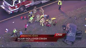 Images from the scene of a rollover accident on I-435 at Midland Drive in Johnson County, Kan. Multiple people were injured in the accident.