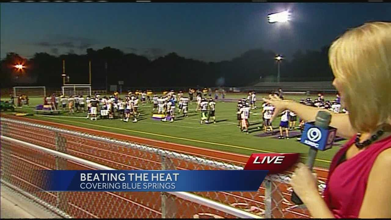 Blue Springs High School is just one of the high schools holding football practice early this morning under the lights to beat the heat.