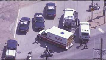 Images from the conclusion of a police chase that involved a tractor trailer cab through downtown Kansas City. Police chased the cab all over downtown, before the chase ended onGardner Avenue near North Chouteau Trafficway.
