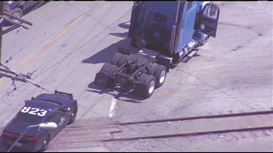 Images from the conclusion of a police chase that involved a tractor trailer cab through downtown Kansas City.  Police chased the cab all over downtown, before the chase ended on Gardner Avenue near North Chouteau Trafficway.
