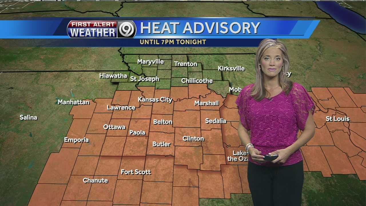 KMBC 9 meteorologist Erin Little says a heat advisory remains in effect until 7 p.m. Saturday, but isolated storms could move through the area during the evening and overnight hours and bring relief.