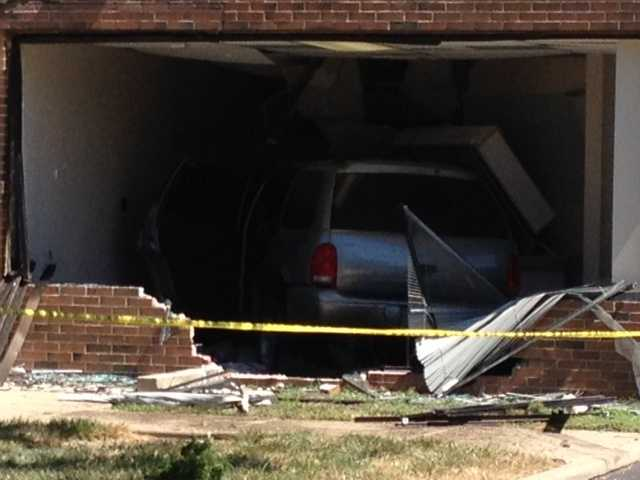 Images from a KMBC 9 News viewer of a van that crashed into the US Bank at 119th Street and 69 Highway in Overland Park on Monday afternoon.