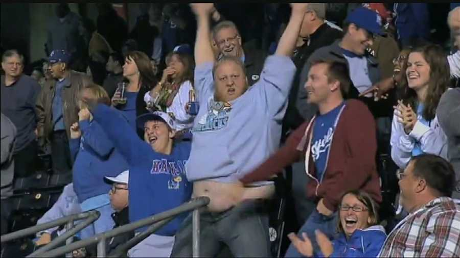 He said he does what he can to fire up the Kauffman Stadium crowd, even if it's a little embarrassing.