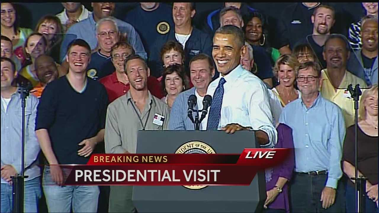 President Barack Obama had a few words for Kansas City Chiefs fans during his speech at the Ford stamping plant in Liberty, Mo.
