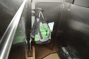 Aaron Alexis' backpack was found in the fourth-floor men's bathroom, hanging on the back of a stall door. (FBI)