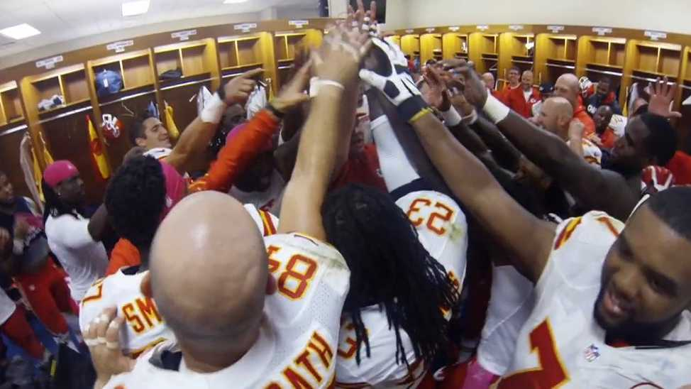 Kansas City Chiefs High Five in locker room