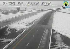 Snow in Goodland, Kansas, along I-70.