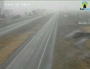 Almost snowing in Hays, Kansas, along I-70.