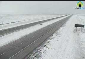 Snow in Kanorado, Kansas, along I-70.