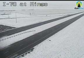 Snow in Mingo, Kansas, along I-70.