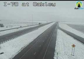 Snow in Oakley, Kansas, along I-70.