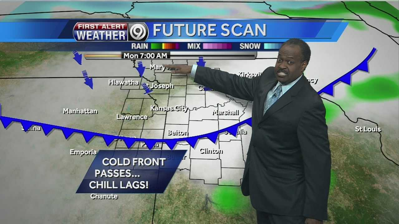KMBC 9 chief meteorologist Bryan Busby says rain is in the forecast for Monday and as temperatures drop Monday evening, some of that rain could mix with snow.