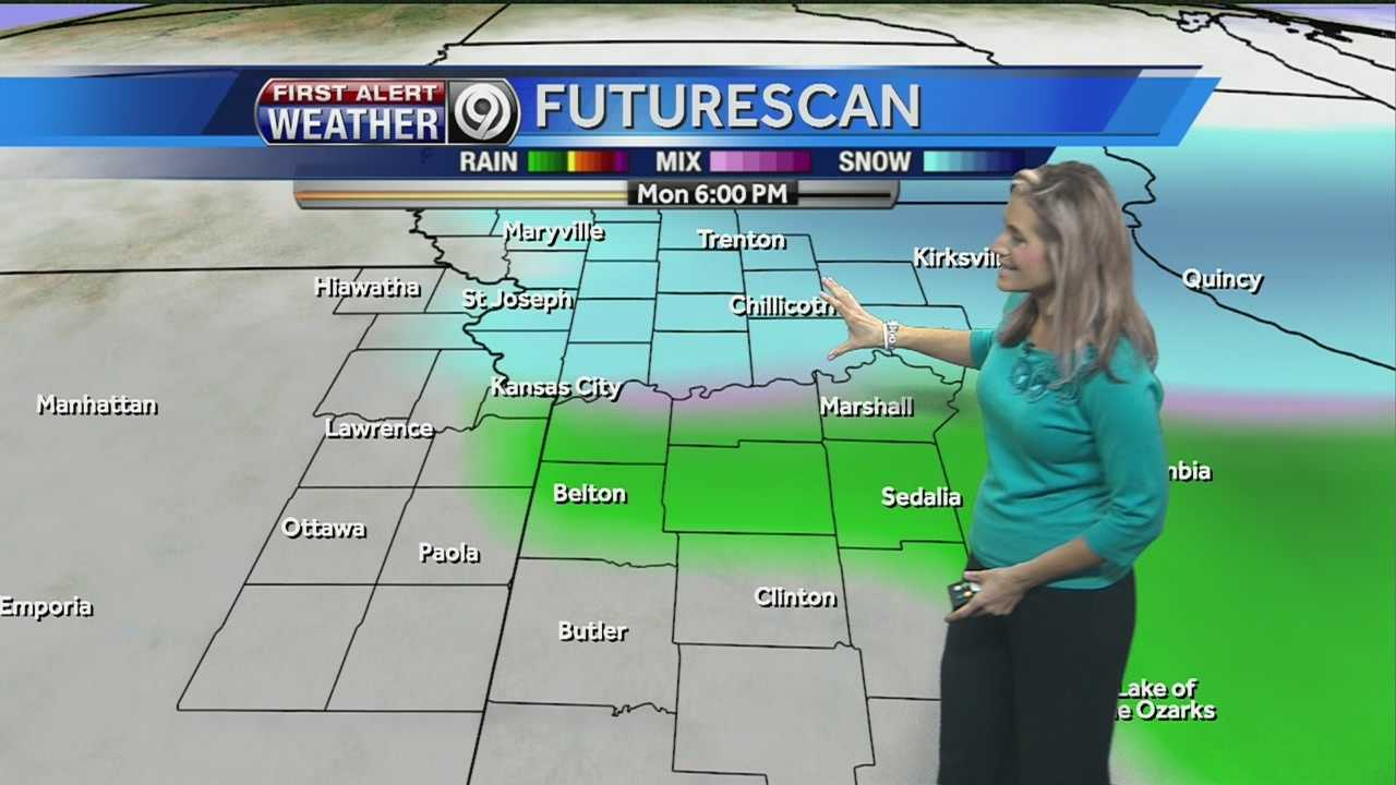 Temperatures will tumble on Monday as a cold front pushes blustery winds and possible snow showers into the Kansas City area.