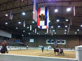 Trainers and riders practiced for the upcoming classes on Monday in Hale Arena.